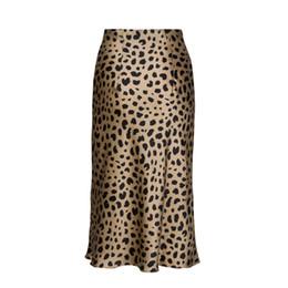 faldas de punto hasta el tobillo Rebajas Venta caliente de Cintura Alta Leopardo Midi Falda Mujer Oculta Elasticized Cintura Seda Satén Faldas Estilo Slip Animal Imprimir Falda de las mujeres