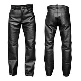 Pantalones lápiz xxl online-Verano para hombre de negocios Slim Fit elástico negro pantalones de cuero de imitación pantalones elásticos ajustados de cuero de la PU pantalones de lápiz brillante