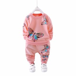 346d3069d2 2019 Spring Autumn Girl Clothing Casual Baby Clothes Children Suit Infant  Cartoon Butterfly Sweatshirts Sports Pants Kids Sets