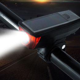 2019 altoparlanti solari NUOVA Super luminosa USB Solar Energy Bicicletta Speaker Light Oversize Vocal faro biciclette Horn Lights 4 modalità impermeabile durevole altoparlanti solari economici