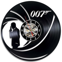 James art online-James Bond 007 Orologio da parete realizzato in vinile Home Decor Regalo fatto a mano Art Decor (Dimensioni: 12 pollici, Colore: Nero)