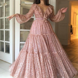 Faísca lantejoulas rosa de ouro vestidos de baile de manga comprida com decote em v árabe evening party dress 2019 elegante dubai mulheres vestidos formais de