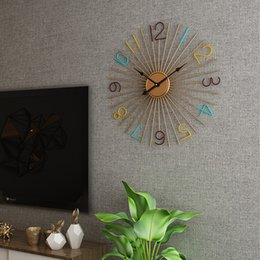 Metall wand kunst dekor hängen online-60 cm große Metall-Wanduhr Modernes Design Dekorative Bar Cafe Kreative Nordic Big Hanging Uhren Eisen-Kunst-Wand-Uhr-Home Decor
