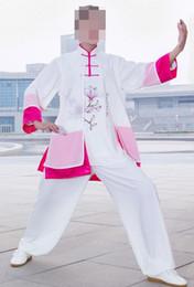 Uniforme de mujer de tai chi online-Personalizar mujeres ropa de taiji de algodón perla pintada a mano trajes de tai chi uniformes de artes marciales rendimiento verano