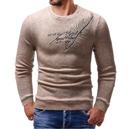 uncinetto a righe Sconti Maglione pullover da uomo sottile in cotone con ricami a foglia Maglione lavorato a maglia a righe a righe casual Uomo Masculino Jersey Vestiti T190907