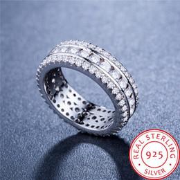 Bagues pour anniversaire de mariage en Ligne-2019 nouvelle mode luxe dames rond plein diamant 925 bague en argent anniversaire de mariage doux amour pour envoyer des cadeaux petite amie