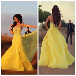 2019 vestidos de cristal de oriente medio 2019 Nuevo estilo Amarillo Gota Cintura Vestidos de noche Largo cariño Con cuentas de cristal Cremallera Volver Árabe Oriente Medio Vestidos de fiesta Vestidos de fiesta