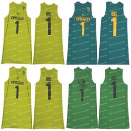 Canada NCAA Oregon Ducks # 1 Bol Bol Pomme Vert Jaune Jersey La meilleure qualité Cousu College Basketball supplier football jersey stitch Offre