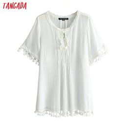 Elegantes blusas de algodón online-Tangada mujeres chic de algodón blusas borlas media manga femenina de encaje camisas blancas con estilo suelto acogedor tops blusas JN244