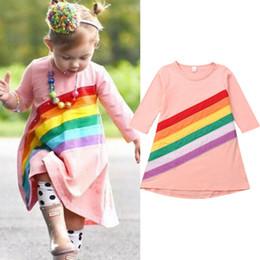 kinder blumen langarm blusen Rabatt Neugeborene Kinder Baby Mädchen Kleid Regenbogen Blumen Langarm Bluse Sommerkleid Kleidung