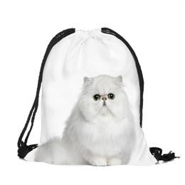 2019 lindas mochilas blancas 39x30 cm Divertido Harajuku Cute Cloth Bolsas de lazo Lienzo Kawaii Bolsas de almacenamiento Mochila 3d Imprimir Womens Gift Bag White Color Cat lindas mochilas blancas baratos