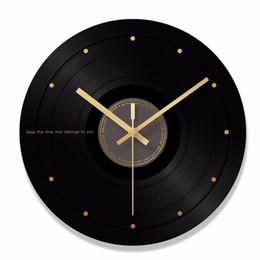Canada Horloge murale en verre de disque de disque de CD de conception moderne accrochant des montres pour l'horloge de montre d'art de musique de décoration à la maison cheap art glass wall clocks Offre