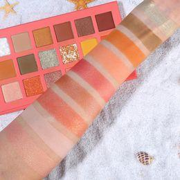 Оранжевый коралловый цвет онлайн-Горячие Продажа UCANBE Coral Eye Shadow Palette Матовый Shimmer Блеск Яркий оранжевый Желтый цвет Летний макияж Посмотрите перламутровый пигмент
