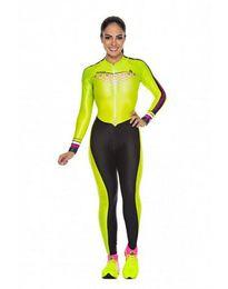 2019 Pro Team Triathlon Tuta da ciclismo da donna a maniche lunghe Jersey Tuta da jogging Maillot Cycling Ropa ciclismo set gel 021 da maglia di pelli fornitori