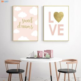 Asili nido rosa online-Pink Love Gold Foil Canvas Art Poster e stampa pittura Nursery Wall Art Kids Room Decor Baby Girl Room Home Decoration