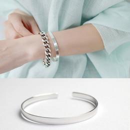 manchette large en argent sterling Promotion Vintage coréenne S925 argent sterling large de 5 mm Bijoux lisses Argent ouvert Cuff Bracelet Femme Fine Jewelry