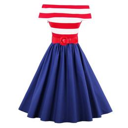 Vestido de swing de ombro on-line-Spcial Oferta Barato Para Grande Promoção Dia 1950's Off-ombro Listrado Vestido Do Vintage Audrey Hepburn Rockabilly Swing Party Dress Y19053001