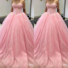 2019 corsé princesa rosa Princesa Vestido de bola Dulce 16 Vestidos de fiesta de quinceañera Falda de tutú rosa Corsé de novia con volantes y tallas grandes 2019 Chicas debutantes Vestidos de baile rebajas corsé princesa rosa