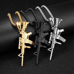 colar de ouro Desconto Homens Colares de Ouro-cor Preta de aço Inoxidável modelo de Arma Rifle Iced-Out Pingente de Colar Hiphop Bicicleta Militar Moda Jóias