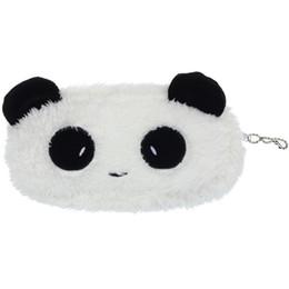 Carteras panda online-2019 Calidad Durable Pequeña Moda Lindo Plush Panda Pen Estuche de Lápiz Bolsa de Maquillaje Cosmético Monedero Monedero