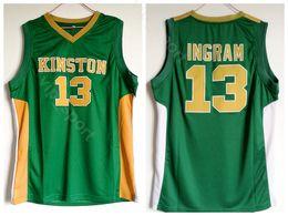 Uniformes escolares on-line-Homens Brandon Ingram Jersey 13 Verde Basquete High School Kinston Jerseys Esporte Uniforme de Algodão Puro de Alta Qualidade Em
