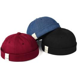 gorro de algodón de verano para hombres Rebajas Sombrero ajustable sin borde casquillo para hombre del cráneo Vogue retro marinero acoplable Cap Beanie motorista retro de los sombreros de Sun de la vendimia unisex de Harajuku