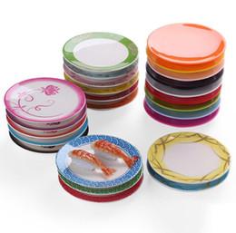 Melamine plate онлайн-Япония Еда Суши Меламиновое Блюдо Вращающиеся Суши Тарелка Круглый Красочный Конвейерная Лента Суши Сервировочные Тарелки SN3344