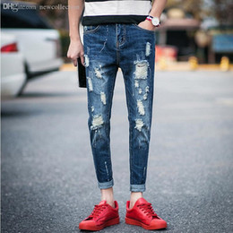 pantalon skinny court Promotion Gros-Men Jeans Rayé Distrressed Skinny Destroy Wash Ripped Vintage évider Cropped Pants Casual Begger fou Big