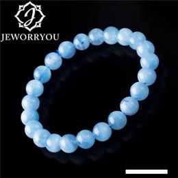 contas de pedra de aquamarine Desconto 6-12mm Aquamarine Pulseira Femme Aquamarine Beads pulseiras Rodada Blue Stone Natural Beads trecho pulseira para mulheres