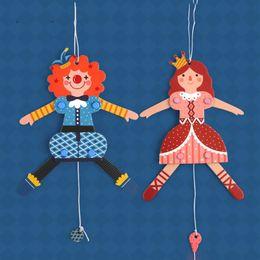Мультфильм принцесса принц онлайн-Новинка Vintage Color Мультфильм DIY Персонажи Марионетка Принцесса Девушка Украшения Принц Потяните Струны Кукольный Случайный Оптовая