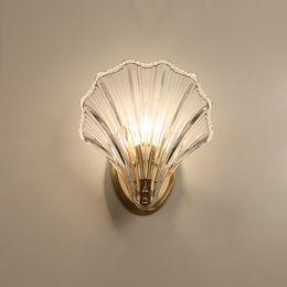 Luzes de parede de luxo on-line-Novo 2019 Shell De Vidro De Cristal De Luxo Lâmpadas De Parede De Ouro De Luxo Lâmpadas LED Luz Quarto Sala de estar Luminárias Internas