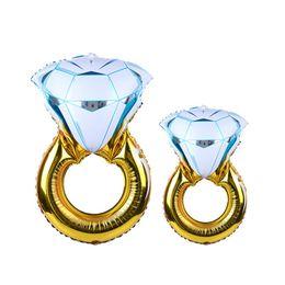 Globo globo de aluminio online-Anillo de la novia globo boda Diamante Globo Compromiso Foil Día de San Valentín Globos juguetes divertidos para la fiesta de decoración