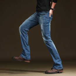 f06ad7c05 jeans hombre bootcut Rebajas ICPANS Ripped Black Flare Jeans Hombres  Classic Boot Cut Jeans para hombre