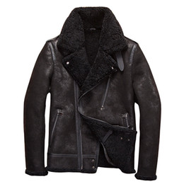 зимние пальто Скидка  DAMSON Black Men Slim Fit Genuine Biker's Shearling Coat Plus Size XXXXXL Winter Thick Russian Natural Motorcycle Coat
