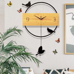 большие желтые часы Скидка Настенные часы Home Modern Minimalist Mute Северные кварцевые часы Атмосфера Гостиная Креативная спальня Ресторан Часы