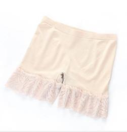 frauen-sommer-leggings Rabatt Womens Sommer einfarbig Leggings Lace Edge jeden Tag Boy Shorts lose speichern Höschen mit Kleid lässig weibliche Kleidung
