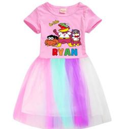 Crianças Ryan Brinquedos vestido para Meninas de Algodão Puro de Verão Saia de manga Curta 3 cores frete grátis de