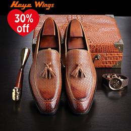 men s woven leather shoes Rabatt Heye Wings Nizza beiläufige Müßiggänger-Männer Büro-Geschäfts-Kleid beschuht modische gesponnene lederne Schuh-Quaste