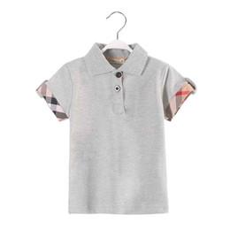 Venta de ropa de polo online-Venta caliente nuevo niño ropa verano moda niños niño camiseta color gris manga corta niño polo camiseta