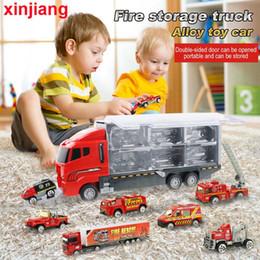 spielzeug-modell feuerwehrauto Rabatt Big Fire Truck 10PCS Mini Diecast Auto-Modell-Hubschrauber-Container-LKW-Kombination Spielzeug Fahrzeuge Geschenk für Kinder Jungen