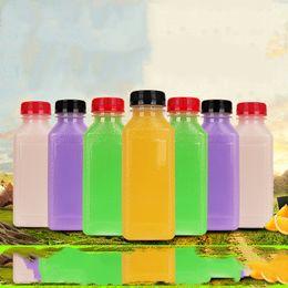 bicchierino all'ingrosso dei bambini Sconti Scrub Bottle Bottiglie vuote in plastica trasparente per succhi Bottiglie per il latte con tappo trasparente Ottimo per conservare i succhi fatti in casa