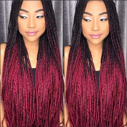 women long red hair Coupons - Long Handmade Box Braids wig micro braid lace front wig Ombre red Synthetic Braiding hair wig For Africa For Black Women