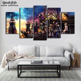 2019 imagens de heart art Wall Art Canvas modulares 5 peças abstratas do jogo Kingdom Hearts Pintura Sala Prints Framework Poster Decor Pictures desconto imagens de heart art