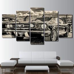 Tela verniciata auto online-Modulare HD Print Artwork Modern Sports Car Poster Home Decor Wall Art 5 Pezzi Immagini 1965 Ford Mustang Sports Car Canvas Painting