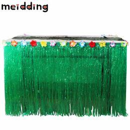 Diy hawaii online-Compleanno Meidding 1pcs Decor arancione / verde Luau Grass Hula Skirt Table Runner Diy Wedding Halloween Pool Party Hawaii