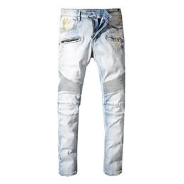 Luz de pintura a óleo on-line-Nova França Estilo dos homens Embelezado Com Nervuras Estiramento Moto Calças Olhar Pintado Motociclista Jeans Slim Light Blue Calças Tamanho 29-42
