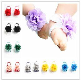 15 Renkler Bebek Çiçek Ayak Çiçek Kız Yalınayak Çocuk Ayak Aksesuarları Bebek Fotoğraf Sahne Noel FD3062 nereden bebek kız için diy hediye tedarikçiler