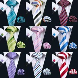 Casamento Homens clássico Atacado de alta qualidade Stripe Estilo Tie Set Silk lenço Abotoaduras tecido jacquard gravata para o trabalho do partido do negócio de