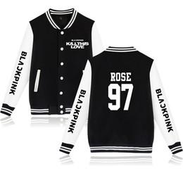 Amour rose vestes en Ligne-BTS Black Pink nouvelle chanson KILL THIS LOVE Imprimer Harajuku 2019 Vente chaude femmes / hommes manches longues k-pops Baseball Jacket, plus la taille 4xl