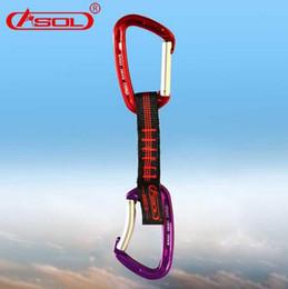 carabiners che si arrampicano Sconti ASOL Outdoor Rock Climbing Quickdraws Arrampicata Moschettoni Accessori cinturino intrecciato